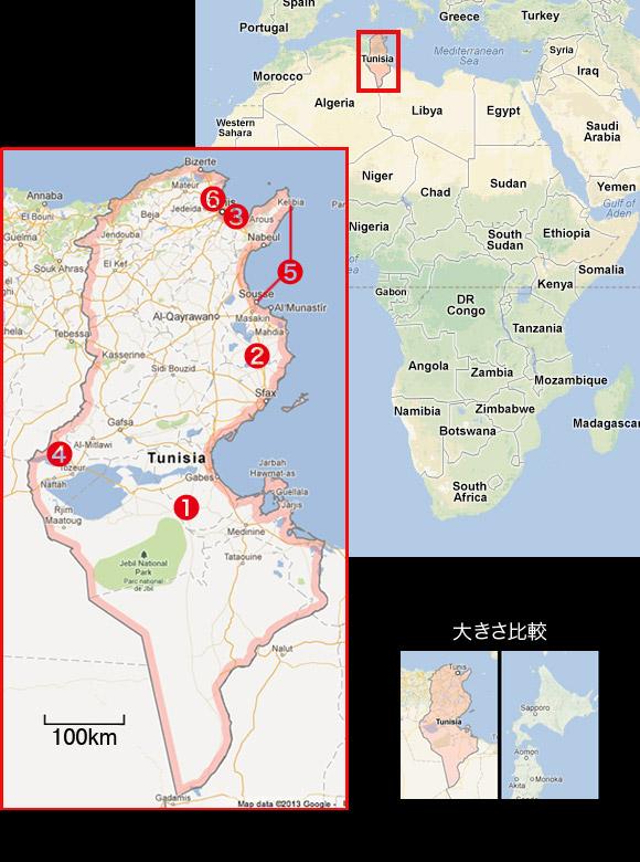 チュニジア 地図